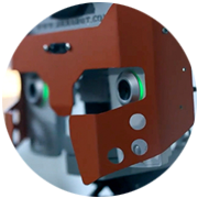 Close-up shot of a robot