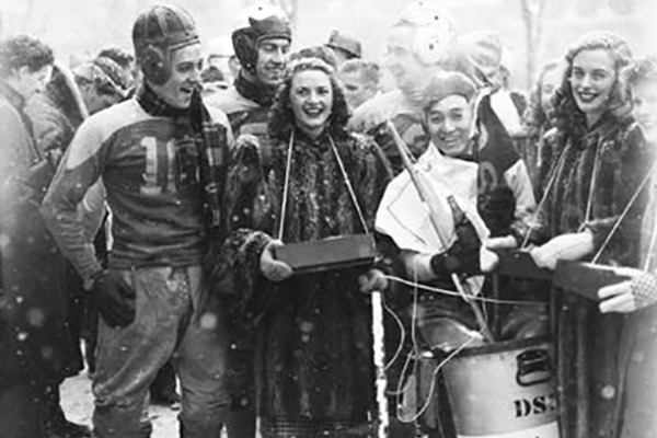 Photo of engineering students after the Ye Grande Old Chariot Race in 1948